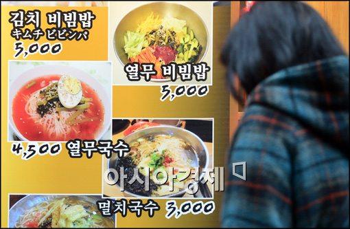 ソウル市店舗の外にお値段表示実行